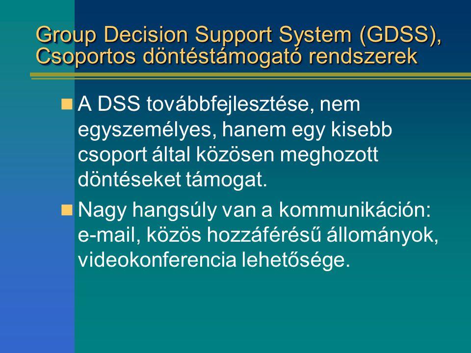 Group Decision Support System (GDSS), Csoportos döntéstámogató rendszerek
