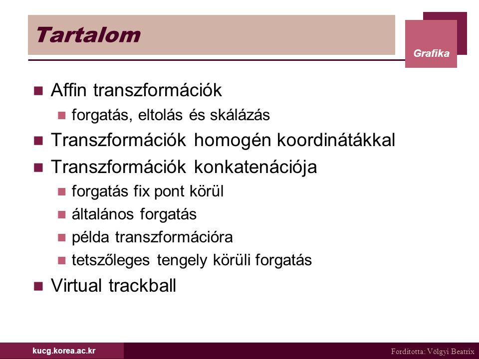 Tartalom Affin transzformációk Transzformációk homogén koordinátákkal