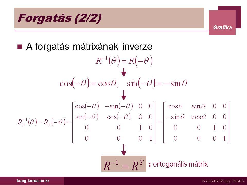 Forgatás (2/2) A forgatás mátrixának inverze : ortogonális mátrix