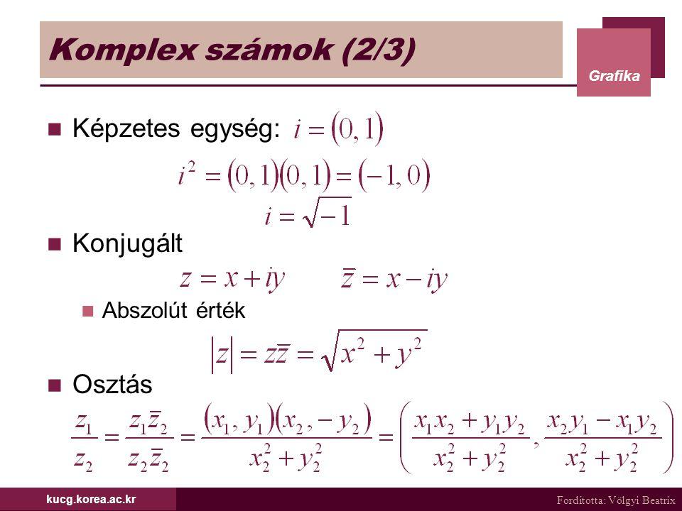 Komplex számok (2/3) Képzetes egység: Konjugált Osztás Abszolút érték