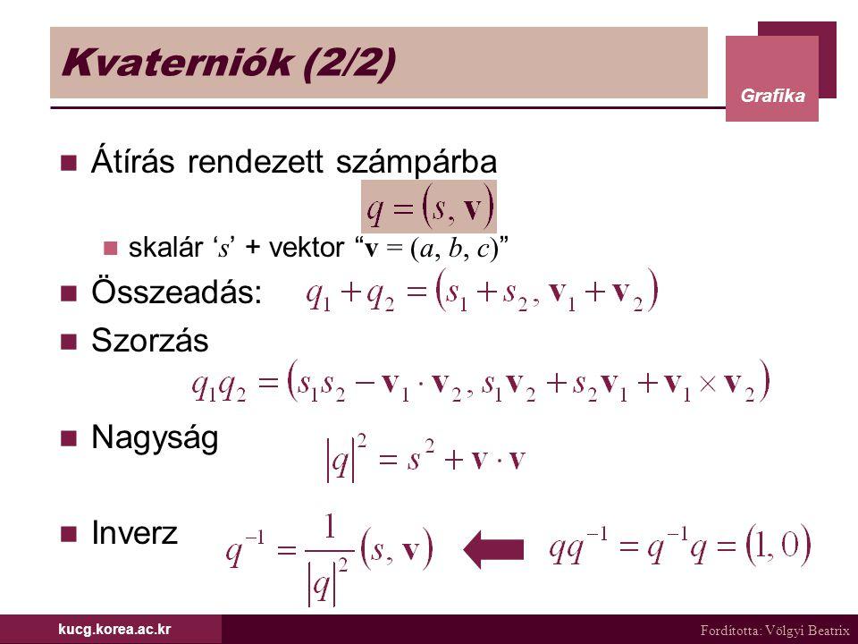 Kvaterniók (2/2) Átírás rendezett számpárba Összeadás: Szorzás Nagyság