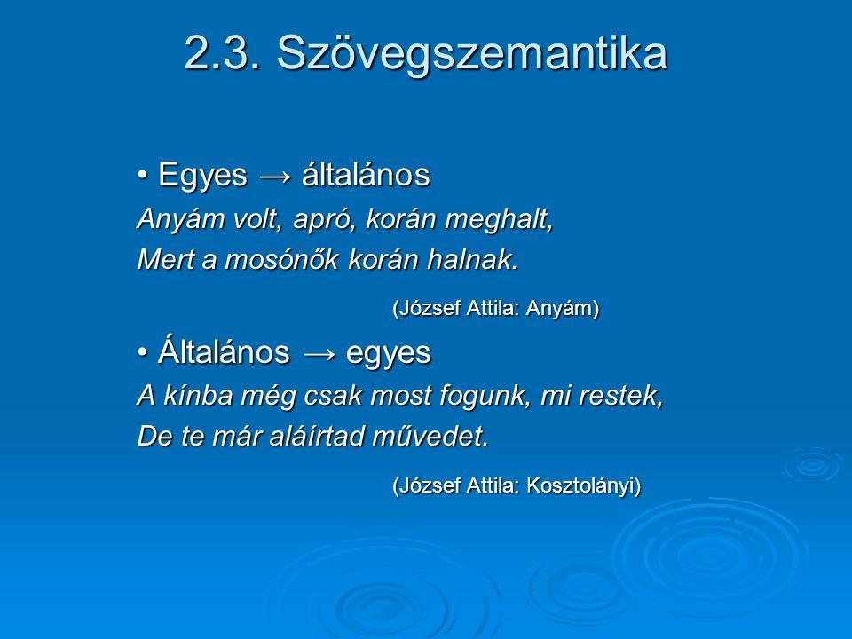 2.3. Szövegszemantika Egyes → általános Általános → egyes