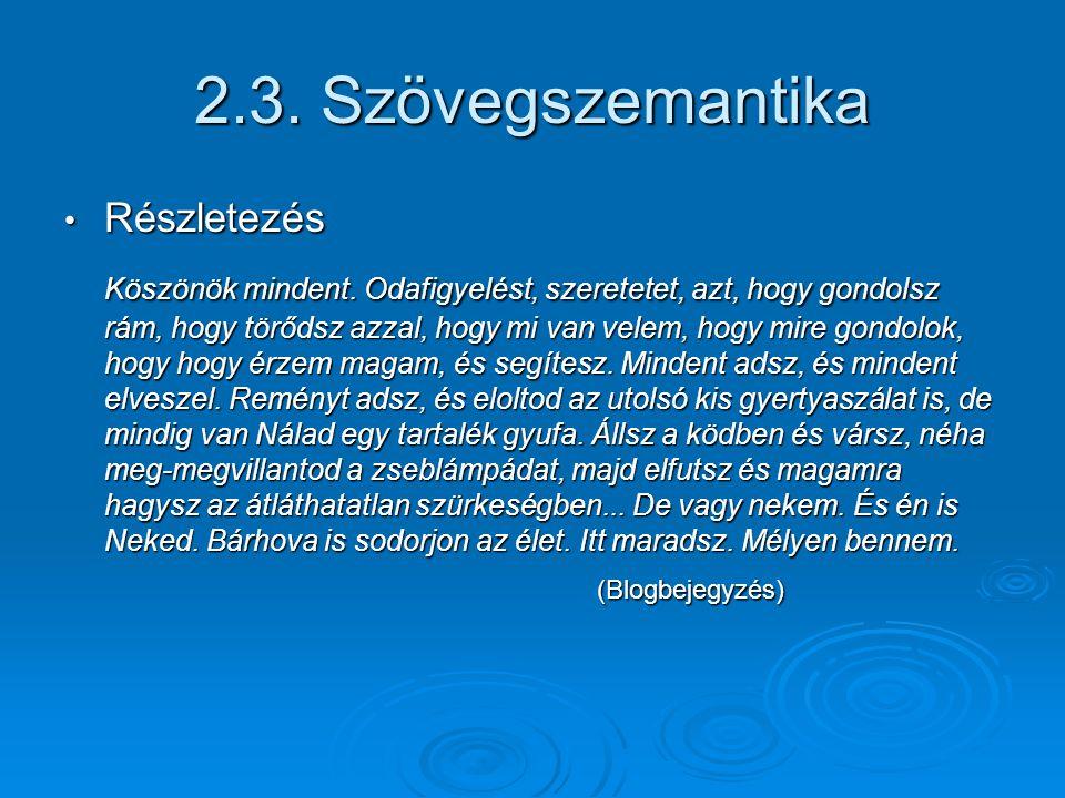 2.3. Szövegszemantika Részletezés.