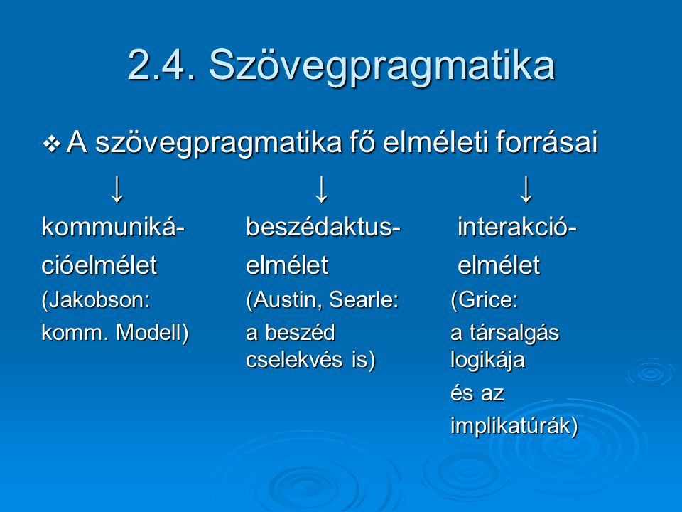 2.4. Szövegpragmatika A szövegpragmatika fő elméleti forrásai ↓ ↓ ↓