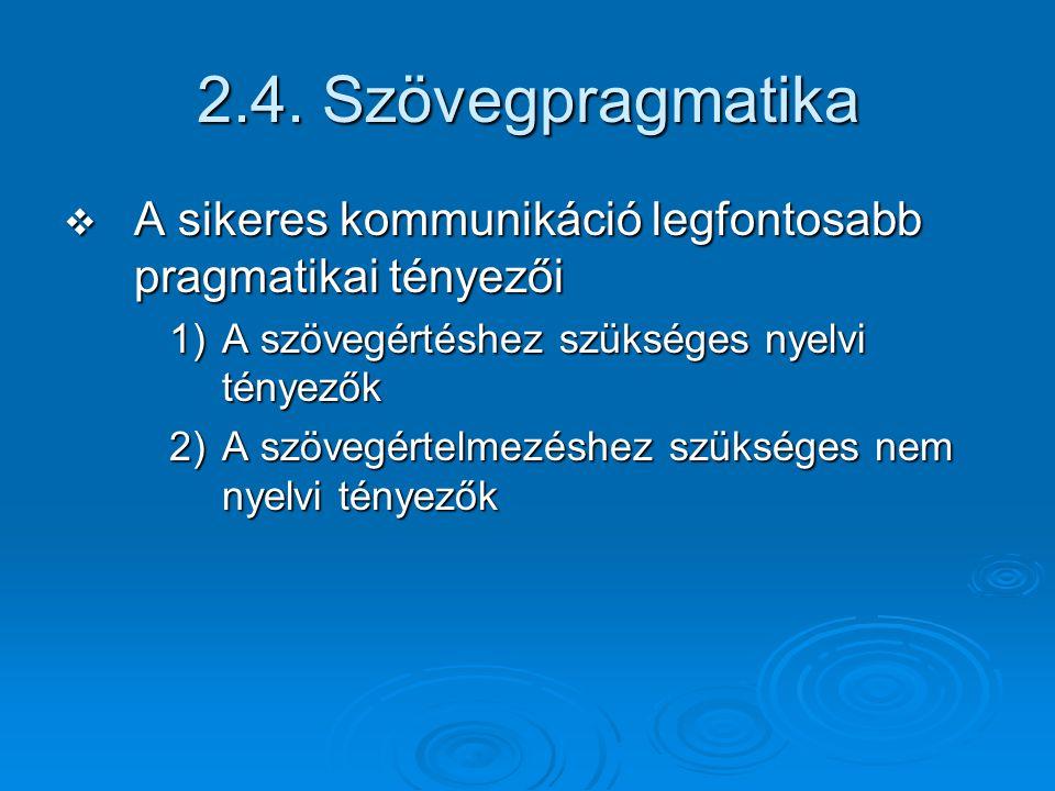 2.4. Szövegpragmatika A sikeres kommunikáció legfontosabb pragmatikai tényezői. A szövegértéshez szükséges nyelvi tényezők.