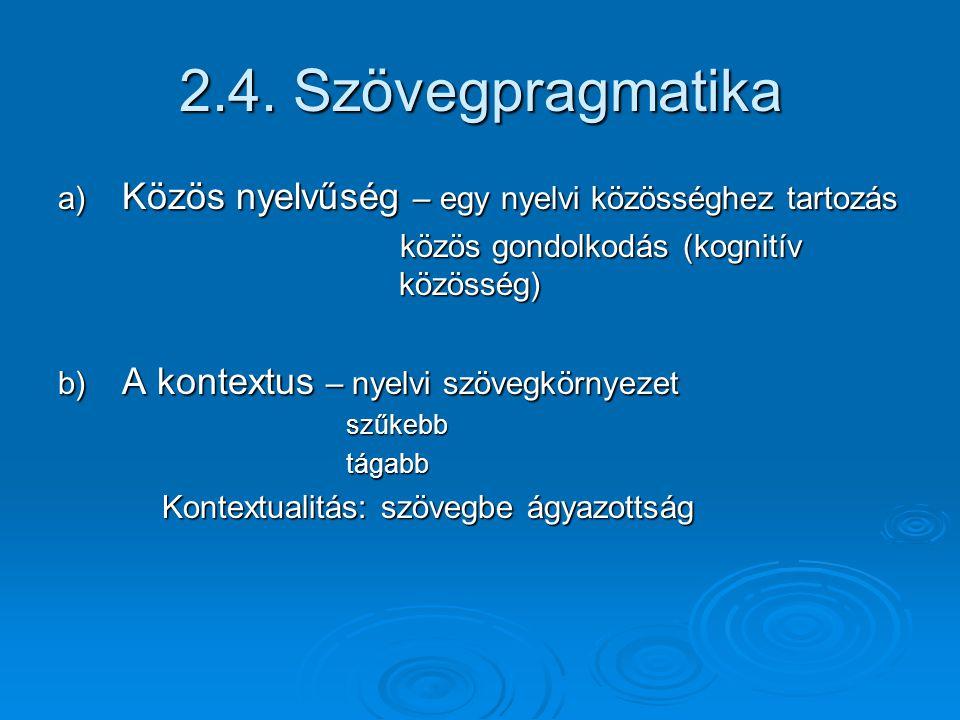 2.4. Szövegpragmatika a) Közös nyelvűség – egy nyelvi közösséghez tartozás. közös gondolkodás (kognitív közösség)