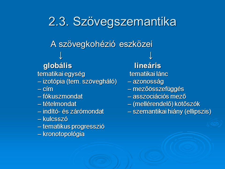 2.3. Szövegszemantika A szövegkohézió eszközei ↓ ↓ globális lineáris
