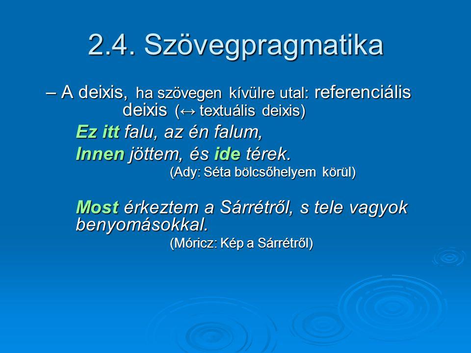 2.4. Szövegpragmatika – A deixis, ha szövegen kívülre utal: referenciális deixis (↔ textuális deixis)
