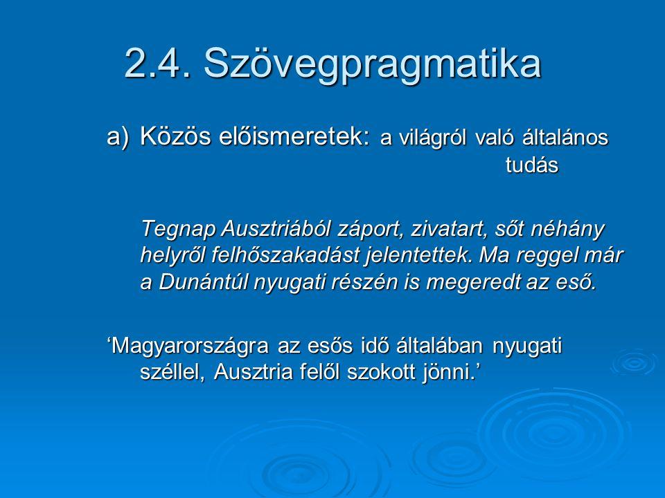 2.4. Szövegpragmatika Közös előismeretek: a világról való általános tudás.