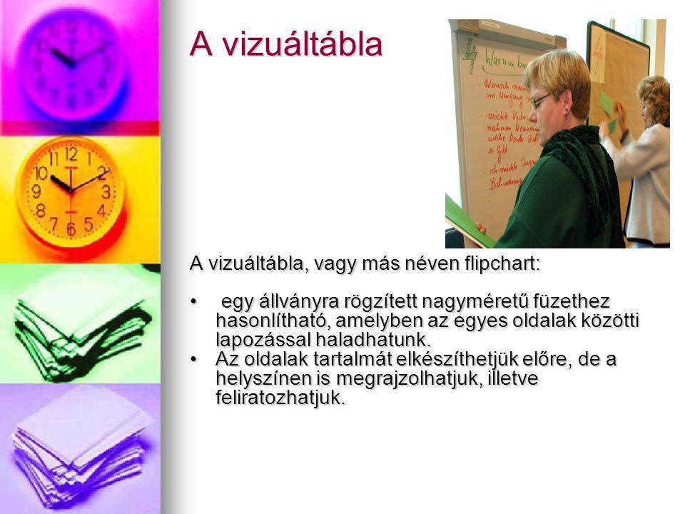 A vizuáltábla A vizuáltábla, vagy más néven flipchart: