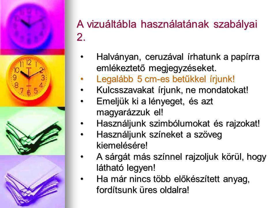 A vizuáltábla használatának szabályai 2.