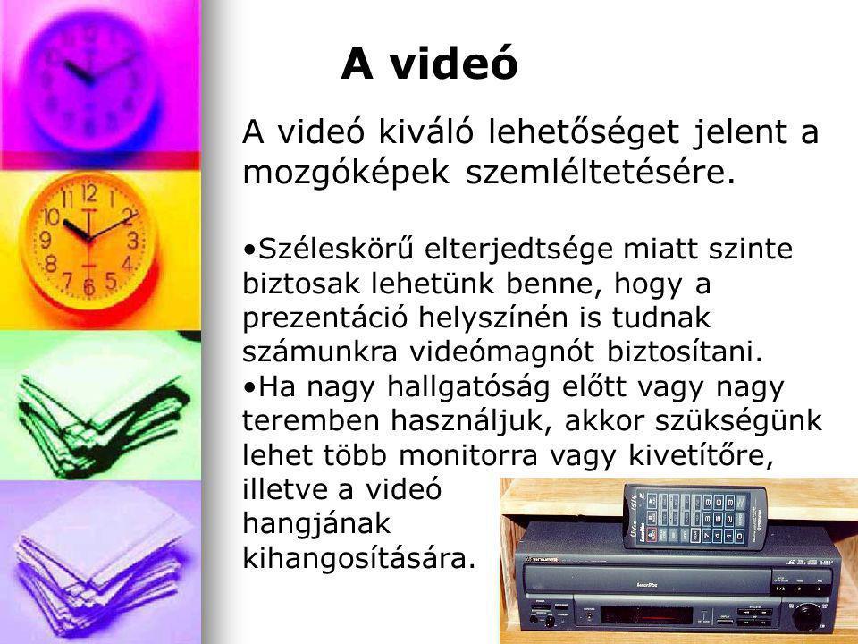 A videó A videó kiváló lehetőséget jelent a mozgóképek szemléltetésére.