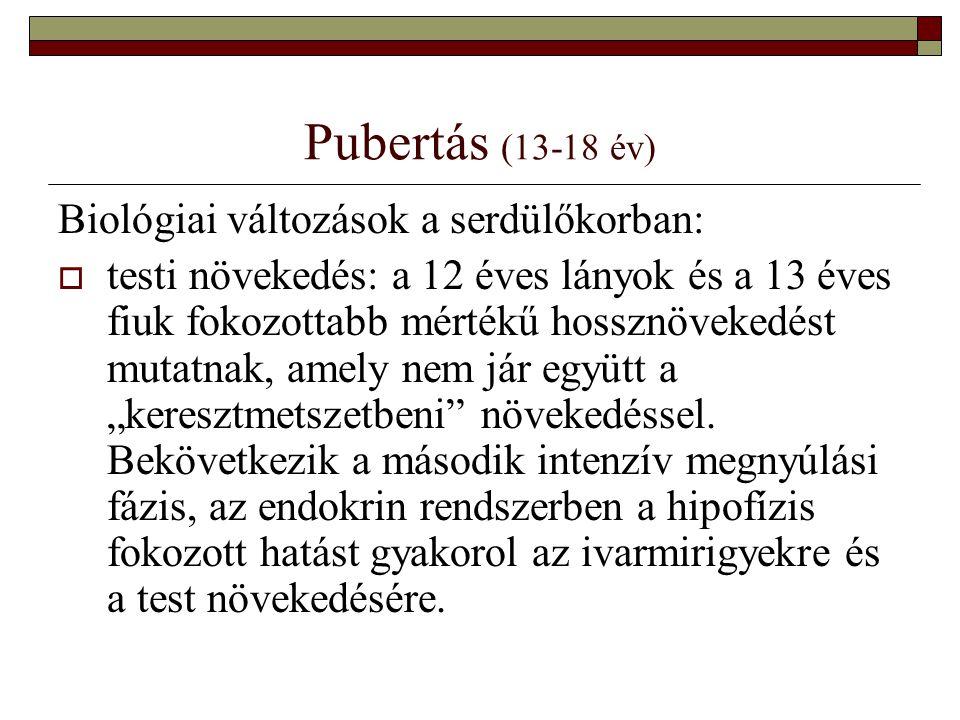 Pubertás (13-18 év) Biológiai változások a serdülőkorban: