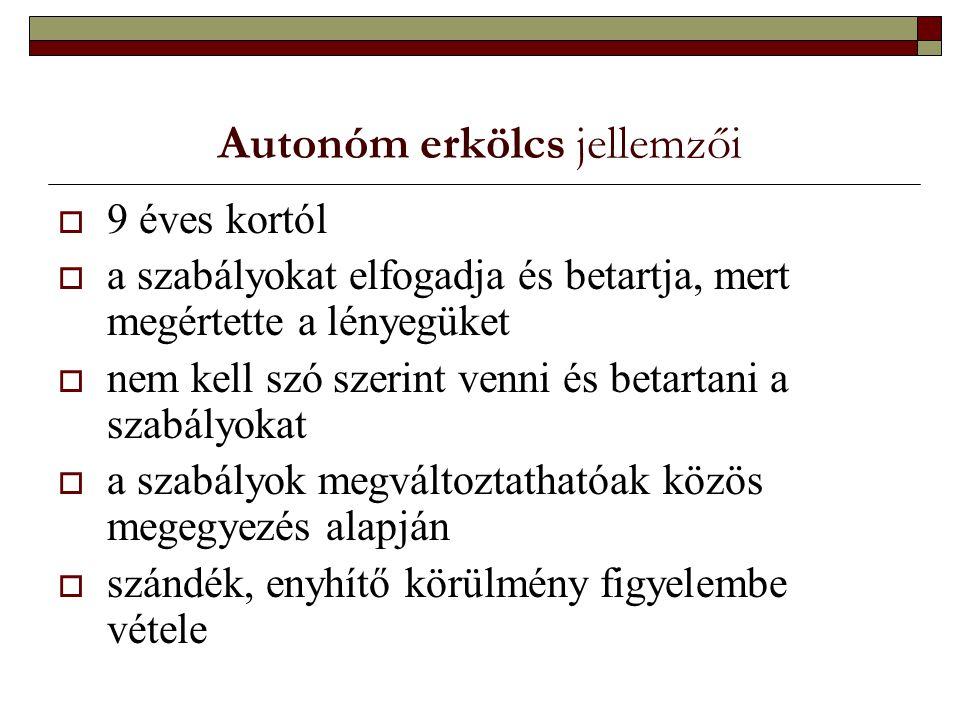 Autonóm erkölcs jellemzői