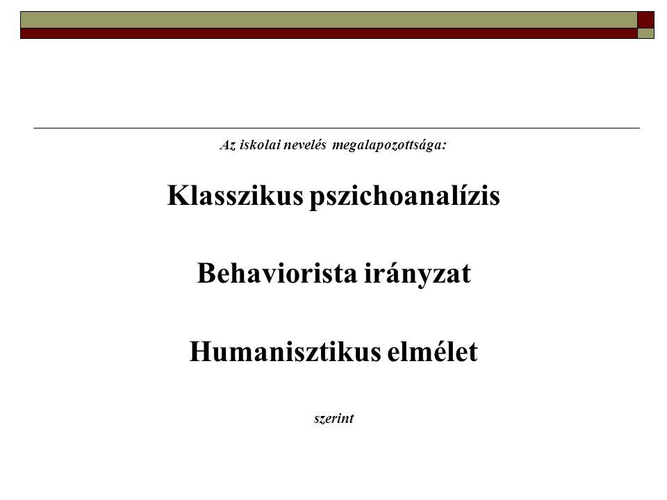 Klasszikus pszichoanalízis Behaviorista irányzat Humanisztikus elmélet