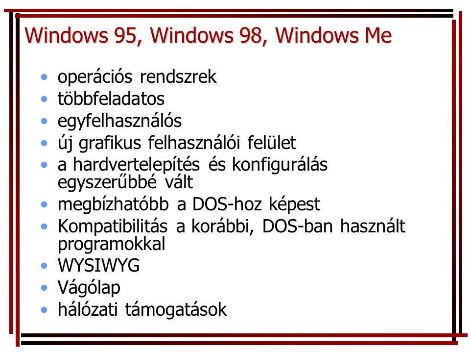 Windows 95, Windows 98, Windows Me