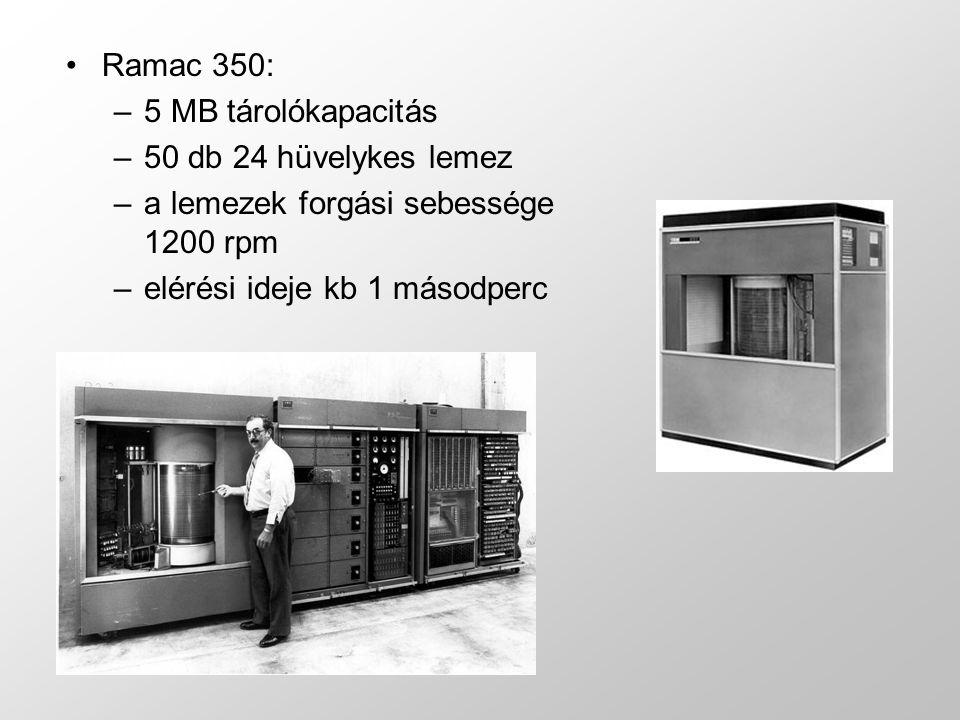 a lemezek forgási sebessége 1200 rpm elérési ideje kb 1 másodperc