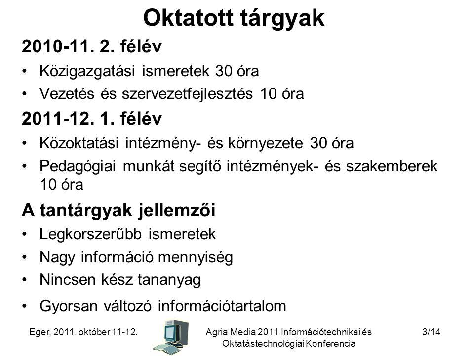 Oktatott tárgyak 2010-11. 2. félév 2011-12. 1. félév