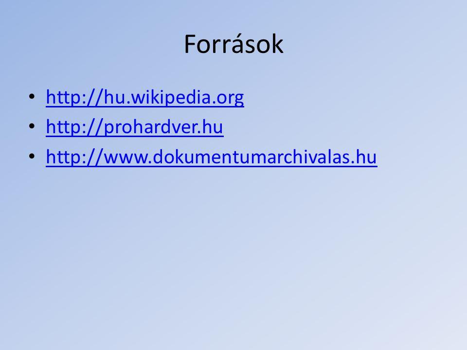 Források http://hu.wikipedia.org http://prohardver.hu