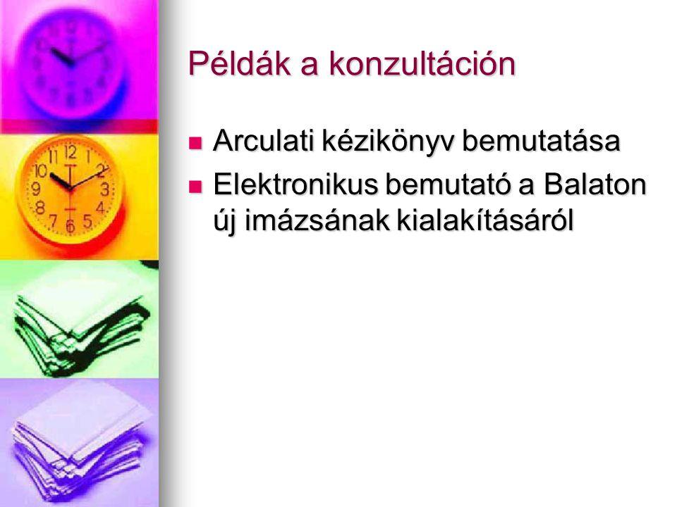 Példák a konzultáción Arculati kézikönyv bemutatása