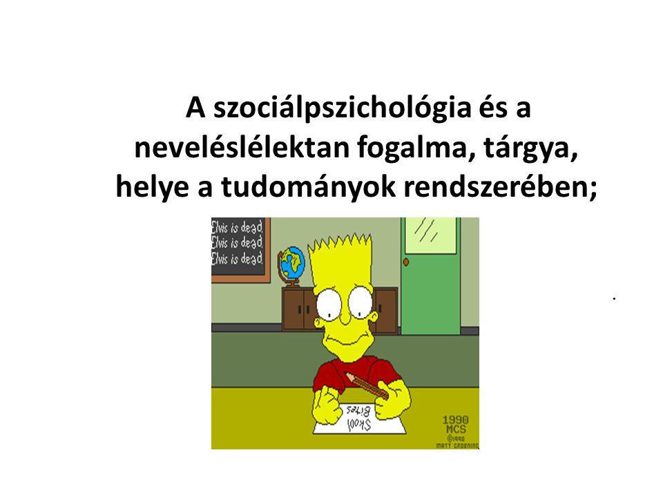 A szociálpszichológia és a neveléslélektan fogalma, tárgya, helye a tudományok rendszerében;