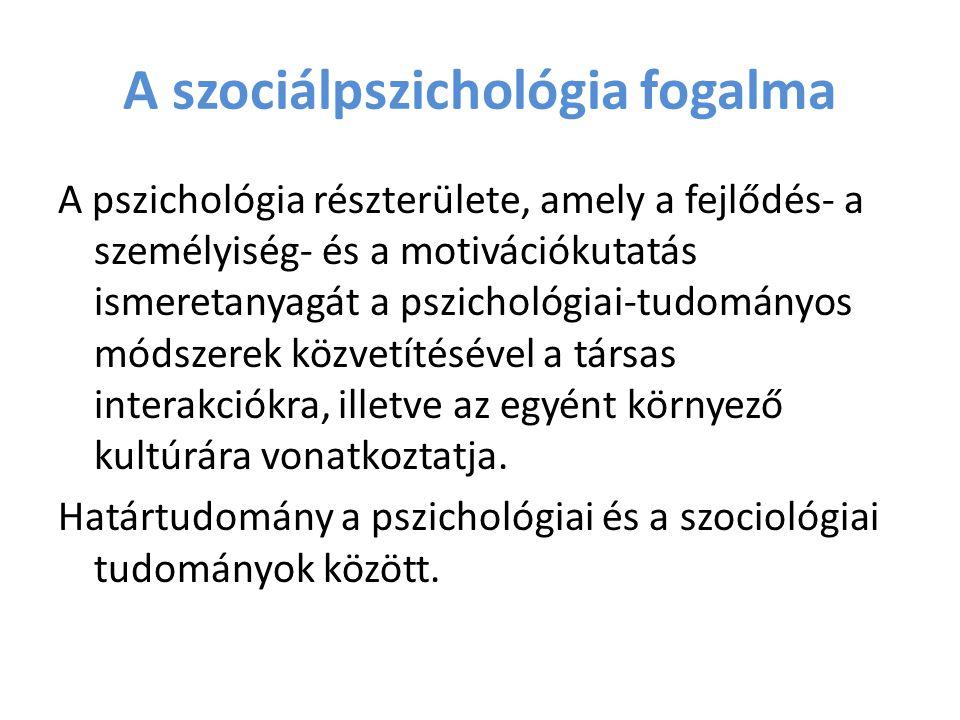 A szociálpszichológia fogalma