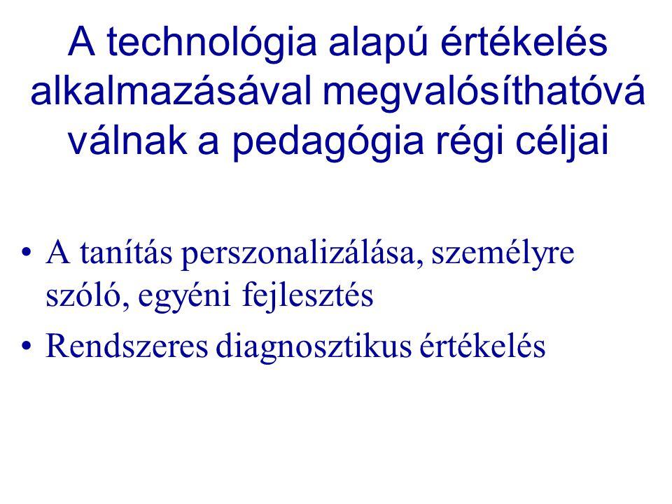 A technológia alapú értékelés alkalmazásával megvalósíthatóvá válnak a pedagógia régi céljai