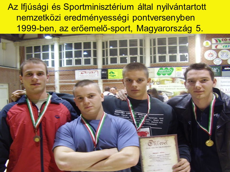 Az Ifjúsági és Sportminisztérium által nyilvántartott nemzetközi eredményességi pontversenyben 1999-ben, az erőemelő-sport, Magyarország 5.