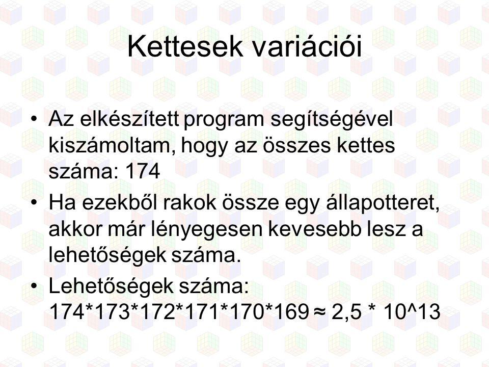 Kettesek variációi Az elkészített program segítségével kiszámoltam, hogy az összes kettes száma: 174.