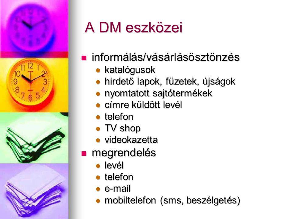 A DM eszközei informálás/vásárlásösztönzés megrendelés katalógusok