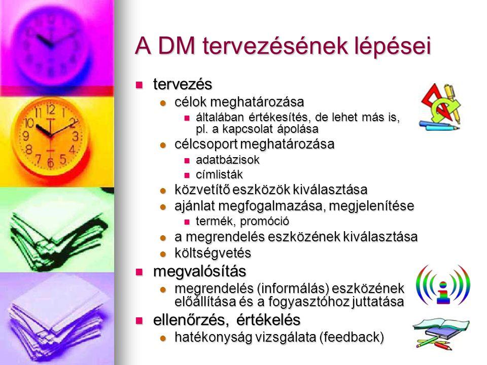 A DM tervezésének lépései