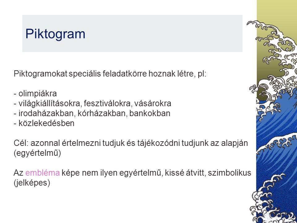 Piktogram Piktogramokat speciális feladatkörre hoznak létre, pl:
