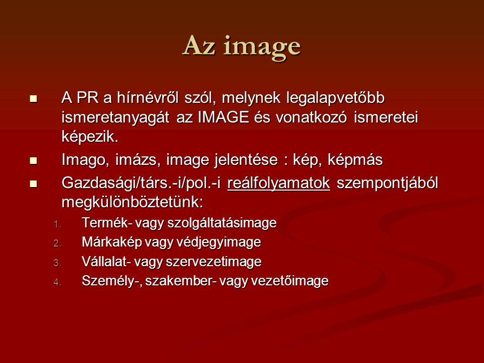 Az image A PR a hírnévről szól, melynek legalapvetőbb ismeretanyagát az IMAGE és vonatkozó ismeretei képezik.