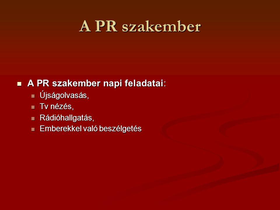 A PR szakember A PR szakember napi feladatai: Újságolvasás, Tv nézés,