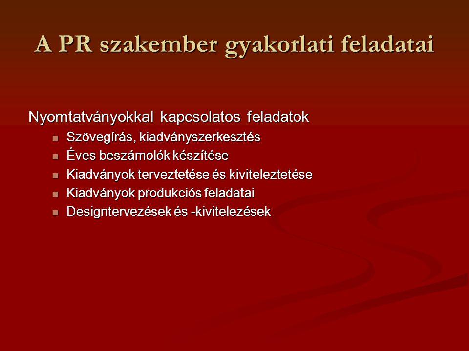 A PR szakember gyakorlati feladatai