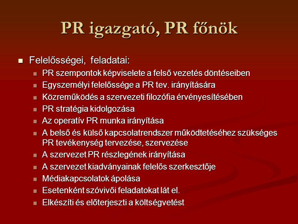 PR igazgató, PR főnök Felelősségei, feladatai: