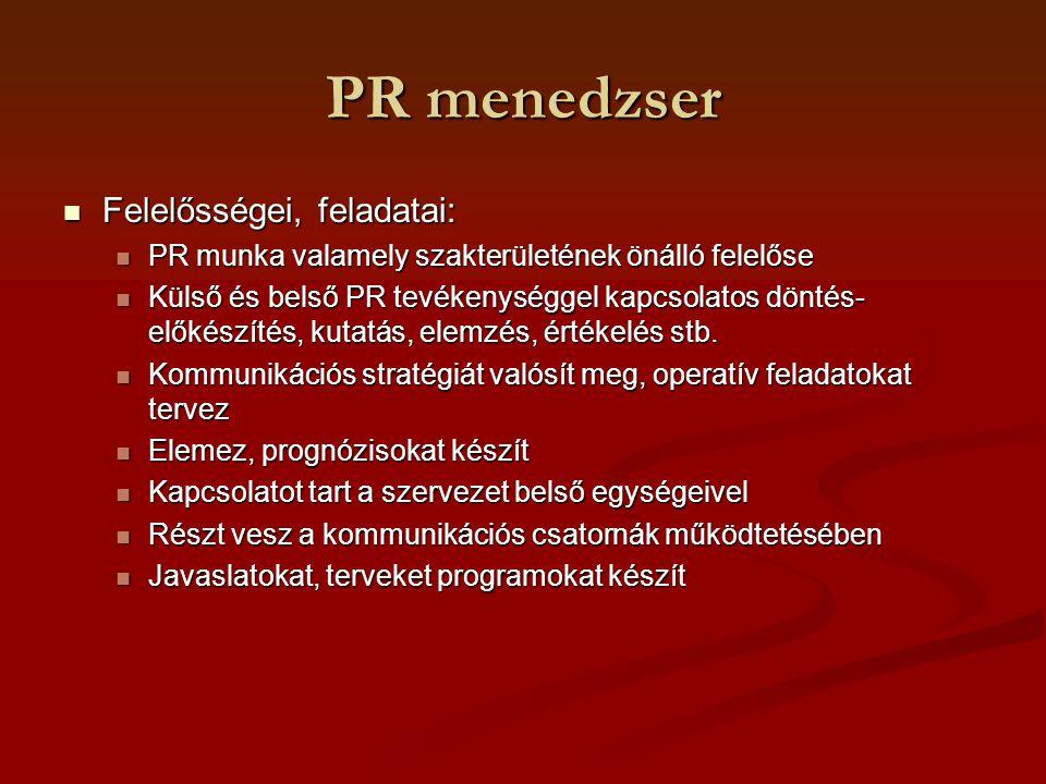 PR menedzser Felelősségei, feladatai: