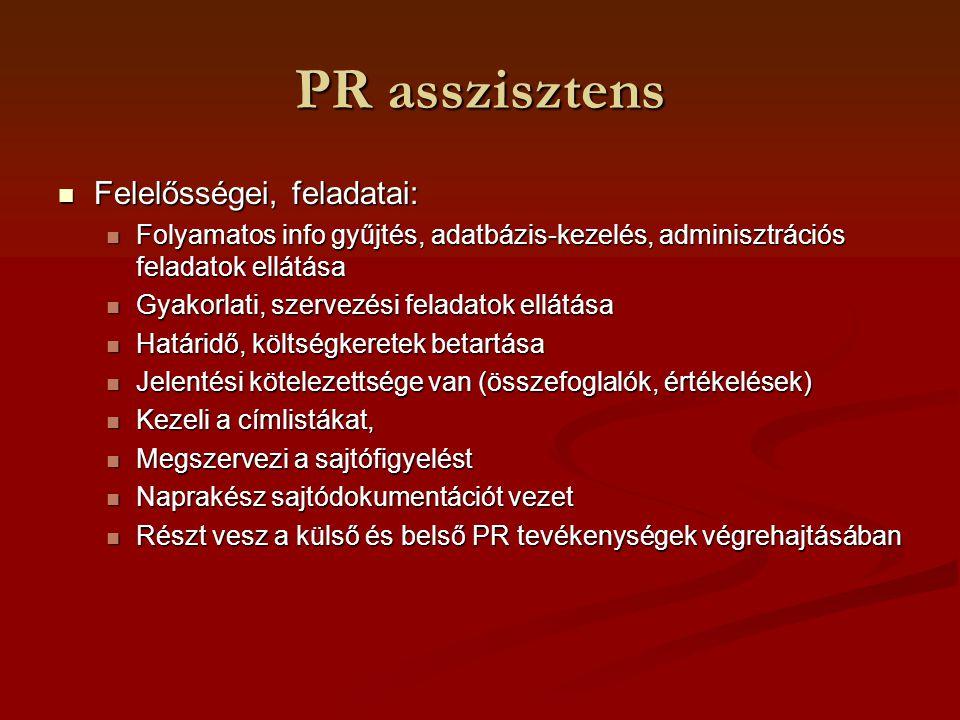 PR asszisztens Felelősségei, feladatai: