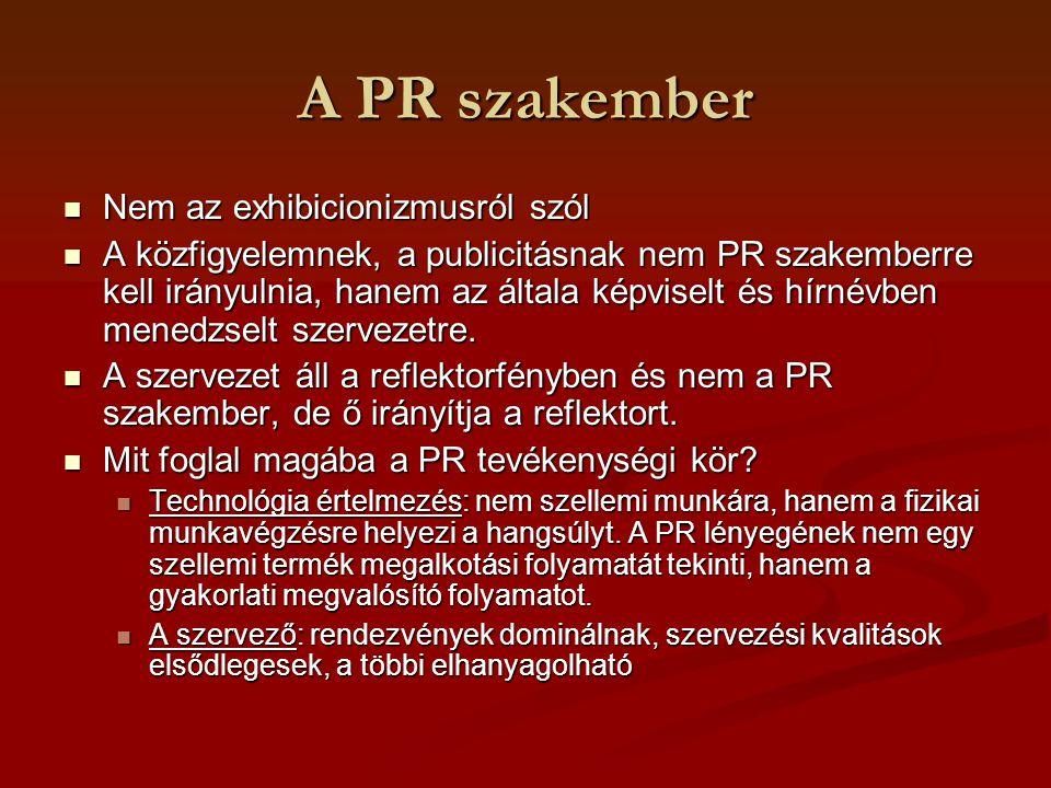 A PR szakember Nem az exhibicionizmusról szól