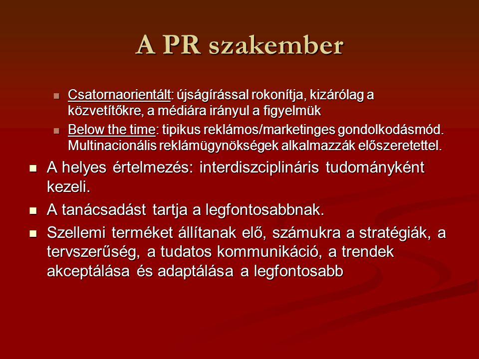 A PR szakember Csatornaorientált: újságírással rokonítja, kizárólag a közvetítőkre, a médiára irányul a figyelmük.