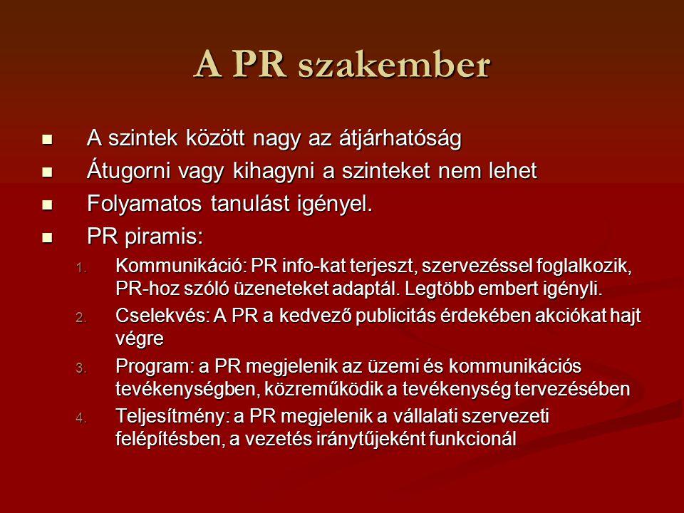 A PR szakember A szintek között nagy az átjárhatóság