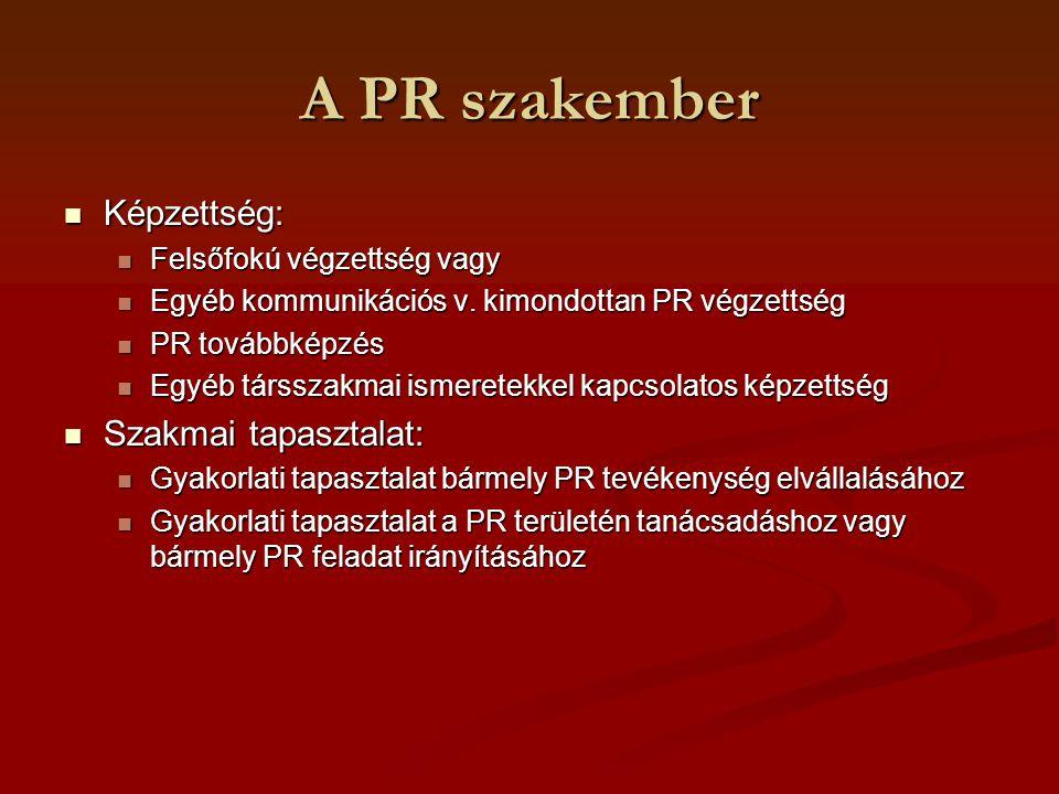 A PR szakember Képzettség: Szakmai tapasztalat: