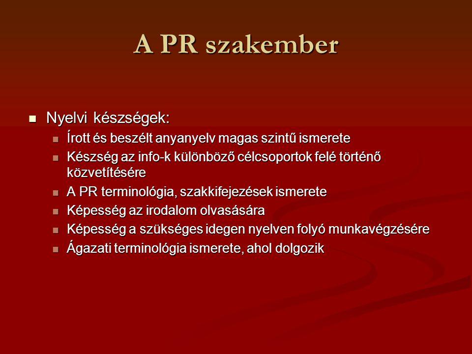 A PR szakember Nyelvi készségek: