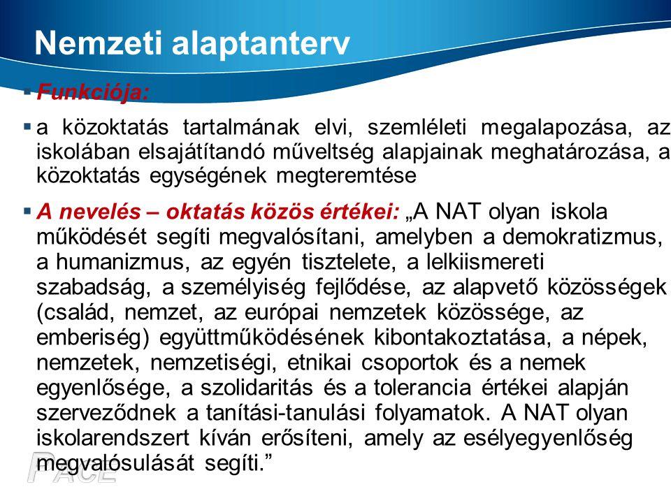 Nemzeti alaptanterv Funkciója: