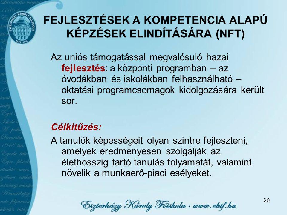 FEJLESZTÉSEK A KOMPETENCIA ALAPÚ KÉPZÉSEK ELINDÍTÁSÁRA (NFT)