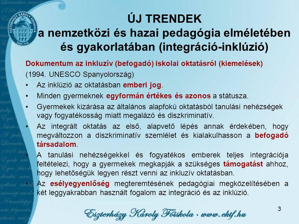 ÚJ TRENDEK a nemzetközi és hazai pedagógia elméletében és gyakorlatában (integráció-inklúzió)