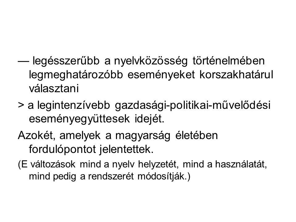 Azokét, amelyek a magyarság életében fordulópontot jelentettek.