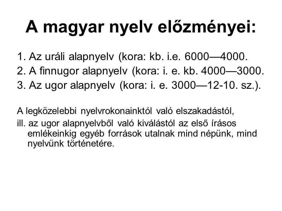 A magyar nyelv előzményei:
