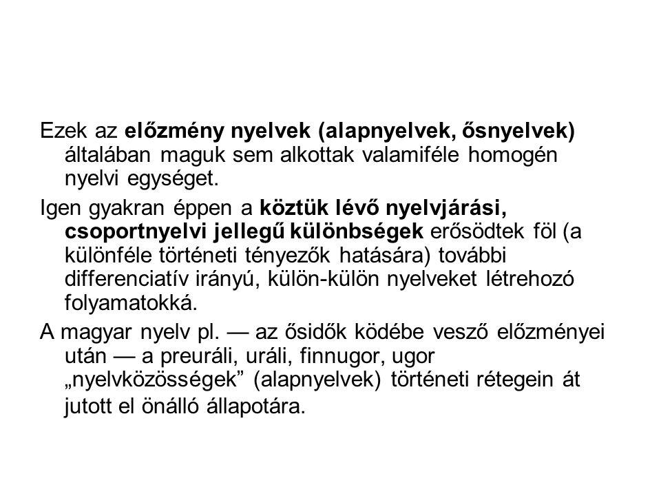 Ezek az előzmény nyelvek (alapnyelvek, ősnyelvek) általában maguk sem alkottak valamiféle homogén nyelvi egységet.