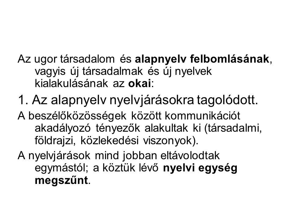 1. Az alapnyelv nyelvjárásokra tagolódott.